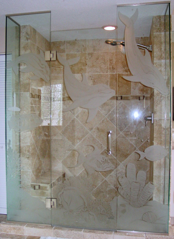 Etched Glass Shower Doors Naples, Florida